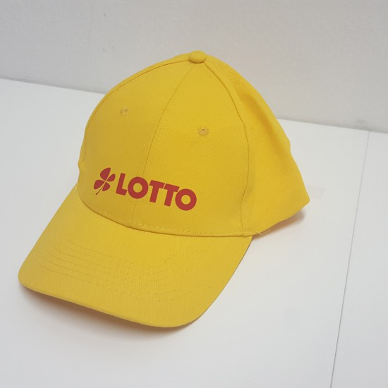 Gelbes Basecap mit rotem Lotto Logo